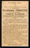Souvenir Mortuaire PIROTTE Ferdinand (1864-1927) Né à LONZEE Mort à MOUSTIER-SUR-SAMBRE - Images Religieuses