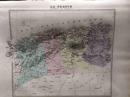 Carte Plan De Algerie Et Tunisie Issu De L'atlas Migeon De 1886 - Geographical Maps
