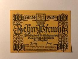 Allemagne Notgeld Sommerfeld 10 Pfennig - [ 3] 1918-1933 : République De Weimar