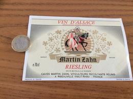 Etiquette «Vin D'Alsace - Riesling - Martin Zahn - RIBEAUVILLE (68)» (Cheval) - Blancs