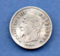 Napoléon III --  20 Centimes 1867 A  -  état  TB - France