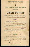 Souvenir Mortuaire POTIER Omer (1843-1905) Mort à MOUSTIER-SUR-SAMBRE - Images Religieuses
