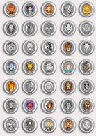 35 X Lion Fan ART BADGE BUTTON PIN SET 1 (1inch/25mm Diameter) - Animals