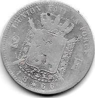 *belguim 2 Francs  Leopold I 1866 French Model A Zonder  Kruis Fr - 1831-1865: Léopold I