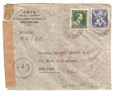 PR6199/ TP 646-683A Léopold Col Ouvert S/L.Avion C.BXL Midi 1945 C.rouge O.A.T.censure Des Communications 543 V.USA - Postmark Collection