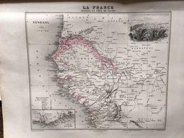 Carte Plan Du Senegal Et De La Cote De Guinée  Issu De L'atlas Migeon De 1886 - Geographical Maps