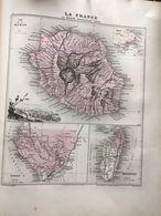 Carte Plan De La Reunion Madagascar Et Du Gabon  Issu De L'atlas Migeon De 1886 - Geographical Maps