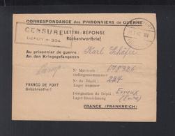 Lettre-Reponse Pour Depot Evreux 1947 Censure - Storia Postale