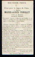 Souvenir Mortuaire TONGLET Marie (1830-1911) Vve HONNIN, J. Morte à MOUSTIER-SUR-SAMBRE - Images Religieuses