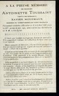 Souvenir Mortuaire TOUSSAINT Antoinette (1843-1907) Vve MOURMAUX, X. Morte à MOUSTIER-SUR-SAMBRE - Images Religieuses