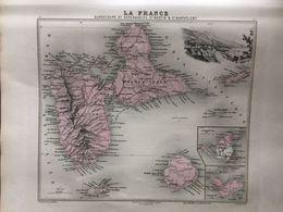 Carte Plan De La Guadeloupe Saint Martin St Barthelemy Issu De L'atlas Migeon De 1886 - Geographical Maps