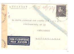 PR6200/ TP 529 Poortman S/L.Avion C.Gent 1942 Censure 'c' Bande & Cachet Et N° De Censeurs V.Allemagne - WW II