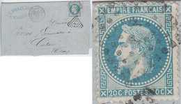 N°29A Sur Lettre De La Gare De Limoges, Oblitéré Ambulant PP, Filet Droit Complètement Absent, TB - 1863-1870 Napoléon III Lauré