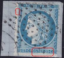 N°60A Position 138G3 1er état, Très Belle Variété Suarnet 38, Sur Petit Fragment, TB - 1871-1875 Cérès