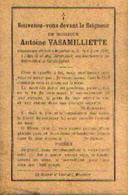 Souvenir Mortuaire VASAMILLIETTE Antoine (1855-1903) Mort à MOUSTIER-SUR-SAMBRE - Images Religieuses