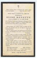 Rouwkaartje Moidemoiselle Elise Renette  Fille De Joseph Et De Lion Aline 1924 - Sonstige