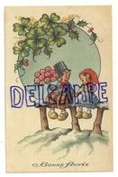 Bonne Année 1944. Deux Enfants Assis Sur Une Barrière. Fleurs, Trèfle Houx, Mimosa. - Nouvel An