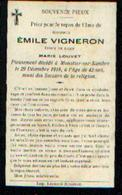 Souvenir Mortuaire VIGNERON Emile (1876-1918) Mort à MOUSTIER -SUR-SAMBRE - Images Religieuses
