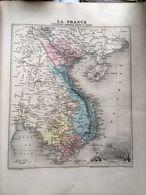 Carte Plan De L'indochine Cochinchine Cambodge Annam Tonkin Issu De L'atlas Migeon De 1886 - Geographical Maps