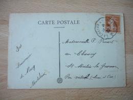 La Chatre A Argenton Cachet Ambulant Convoyeur Poste Ferroviaire Sur Lettre - Poststempel (Briefe)