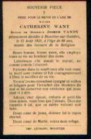Souvenir Mortuaire WANT Catherine (1857-1921) ép. VANDY, J. Moret à MOUSTIER -SUR-SAMBRE - Images Religieuses