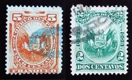 1886 Pérou Yt 77, 78 Coat Of Arms . Oblitérés - Peru