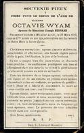 Souvenir Mortuaire WYAM Octavie (1843-1910) ép. BERNARD, J. Morte à MOUSTIER -SUR-SAMBRE - Images Religieuses
