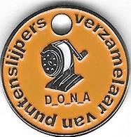 Jeton De Caddie Argenté Néerlandais  Orange  D.O.N.A  Verso  Vert  Van Winkelwagenmunten Verzamelaar  Recto  Verso - Jetons De Caddies