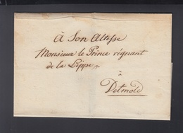 Falthülle An Den Prinzen Von Lippe Detmold Siegel - Norddeutscher Postbezirk