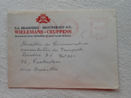 Affranchissement Mécanique  Enveloppe Brasserie Wielemans Ceuppens Brouwerijen 1976 - 1960-79