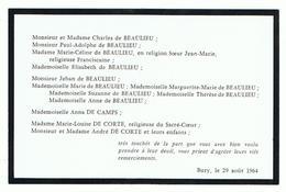 Rouwkaartje En Privé Kaartje Charles Beaulieu - Sonstige