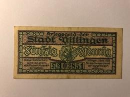 Allemagne Notgeld Willingen 50 Pfennig - [ 3] 1918-1933 : République De Weimar