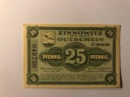 Allemagne Notgeld Zinnowitz 25 Pfennig - [ 3] 1918-1933 : République De Weimar