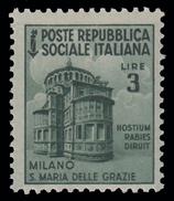 Italia (Repubblica Sociale Italiana) - Monumenti Distrutti: MILANO: SANTA MARIA DELLE GRAZIE - Lire 3 - 1944 - Holidays & Tourism