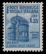 Italia (Repubblica Sociale Italiana) - Monumenti Distrutti: MILANO: SANTA MARIA DELLE GRAZIE - Lire 1,25 - 1944 - Holidays & Tourism
