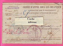 MILITARIA ORDRE APPEL SOUS LES DRAPEAUX CLASSE 1895 CACHETS RECRUTEMENT CHATEAUROUX - 2° BATAILLON CHASSEURS A PIEDS - 1914-18