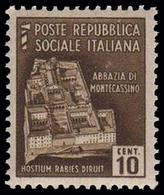 Italia (Repubblica Sociale Italiana) - Monumenti Distrutti: ABBAZIA DI MONTECASSINO - 10 C - 1944 - Holidays & Tourism