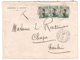 1922 - CACHET AMBULANT CONVOYEUR HAIPHONG A HANOI 1° Sur LETTRE INDOCHINE AFFRANCHIE 6 Cents (TIMBRES SURCHARGÉS) TONKIN - Indochine (1889-1945)