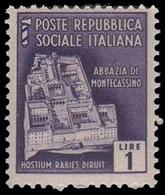Italia (Repubblica Sociale Italiana) - Monumenti Distrutti: ABBAZIA DI MONTECASSINO - Lire 1 - 1944 - Holidays & Tourism