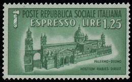 Italia (Repubblica Sociale Italiana) - Monumenti Distrutti (Espresso): DUOMO DI PALERMO - Lire 1,25 - 1944 - Holidays & Tourism