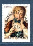 France 2019. Emilie Du Chatelet.Cachet Rond.Gomme D'Origine - France