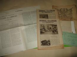 LOT 7 DOCUMENTS IMPRIMES GUERRE 14-18 ALENCON ORNE NORMANDIE JOURNAUX AFFICHE CARTE TRACTS Illustré - 1914-18