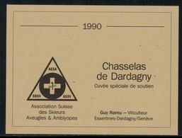 Rare // Etiquette De Vin // Ski // Chasselas De Dardagny, Association Suisse Des Skieurs Aveugles - Ski