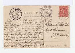 Sur C.p.e Semeuse Lignée 10 C. C. Ambulant St Hilaire à Verdun 1905. CAD Destination Mont Saxonnex Hte Savoie. (1030x) - Marcophilie (Lettres)