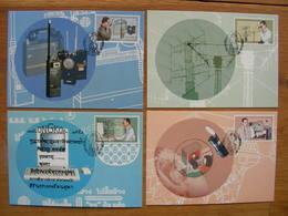 Thailand S/S + 4 MNH + 4 Maxicards The Telecom Man Of The Nation - Telecom