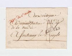 Sur Partie De Pli Au Citoyen Admn. Vendée Cachet Linéaire Troyes 9. En Cursives Rouges  Dépt. De L'Aube. (1031x) - Marcophilie (Lettres)