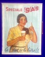 AFFICHE SPECIALE SAS * CA C'EST DE LA BIERE Pub Reclame Lithographie LALINE JEMAPPES BRASSERIE BIER BROUWERIJ CAFÉ R119 - Affiches