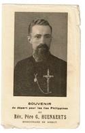 1938 - Souvenir Du Départ Pour Les Iles Philippines Rév. Père G. HUENAERTS Missionnaire De Scheut - 2 Scans - Images Religieuses