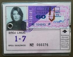 BOSNIA AND HERZEGOVINA Yugoslavia Female Annual Public Transport Ticket For Citizens Of Sarajevo - Season Ticket