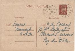 Côte D'Or: Carte Interzone De Pommard (Zone Occupée) Du 04/11/1941 à Clermont Ferrand (Puy De Dôme - Zone Libre) - Vins & Alcools